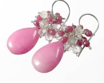Pink Cluster Earrings, Pink Jade Earrings, Pink Drop Earrings, Gift For Her, Sterling Silver