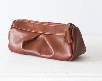 Brown leather makeup bag, accessory bag pencil case  storage zipper pouch travel case jewellery case - Estia Bag
