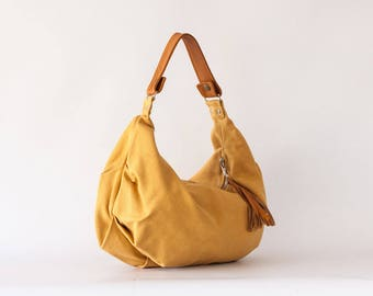 SALE Hobo shoulder bag in mustard yellow canvas and light brown leather, slouchy purse cotton purse - Mini Kallia bag