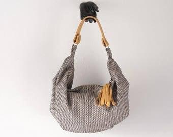Hobo bag in beige patterned wool and light brown leather, slouch shoulder purse everyday bag - Mini Kallia bag