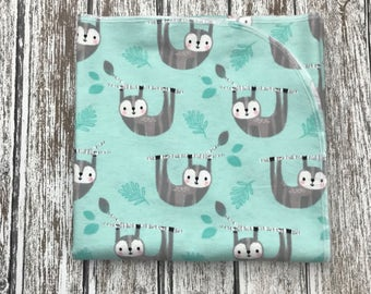 Ready to ship! Mint green sloth Receiving Blanket, Gender Neutral Receiving Blanket, Woodland mint green Baby Blanket