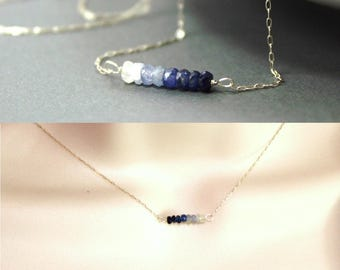 Ombre Sapphire Necklace - Delicate Bead Bar Necklace - Sterling Silver Necklace - Adonia Jewelry