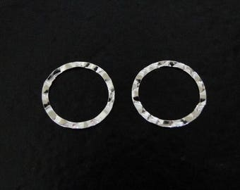 TWO Sterling Silver 13mm Hammered Flat Round Links, Connector Rings, SC44