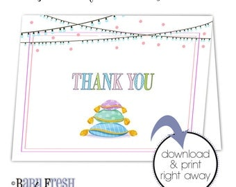 Slumber party thank you card • Sleepover thank you note card • INSTANT DOWNLOAD • Sleep over birthday party thank you card