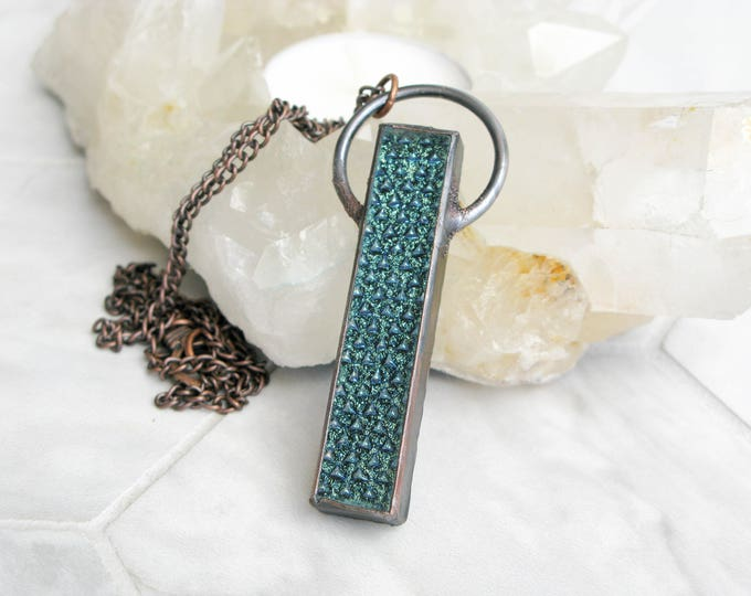 diamond scale Fused Glass Pendant Electroformed Copper Necklace Goddess necklace gothic Jewelry Large Glass Pendant Statement necklace OOAK