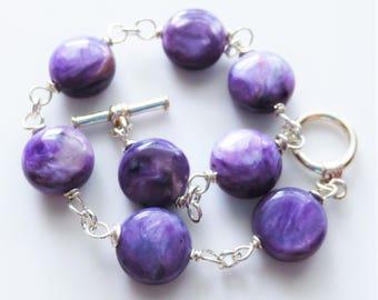 Charoite Gemstone Sterling Link Bracelet EE Designs