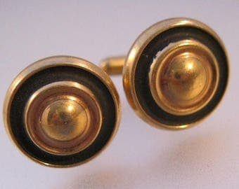 XMAS in JULY SALE 1950s Gold Filled Round Cuff Links with Black Enameling Heavy Weight Vintage Jewelry Jewellery