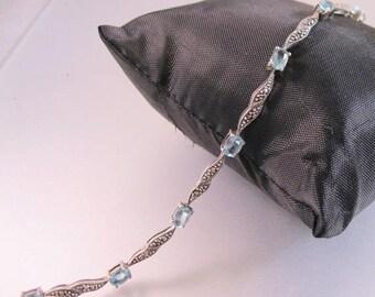 "XMAS in JULY SALE Vintage 4ct Blue Topaz & Marcasite Link Bracelet Sterling Silver 7.5"" Jewelry Jewellery"