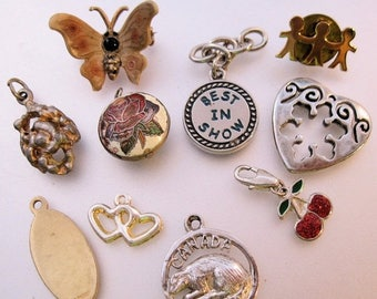 SALE & FREE SHIPPING Vintage Charm Lot of 8 Pieces + 2 Pins Crafts Wearable