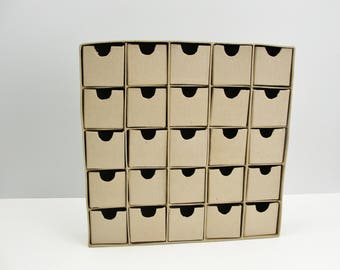Advent calendar, mini parts bin, paper mache drawer set