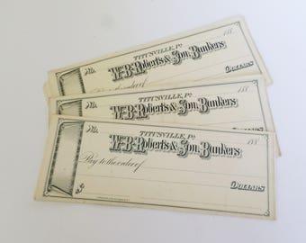 20 Antique Checks, 20 Vintage Bank Checks, Titusville Bank Check, Litho Bank Checks, Banking Ephemera, Banking Scrapbook Supply, Mixed Media