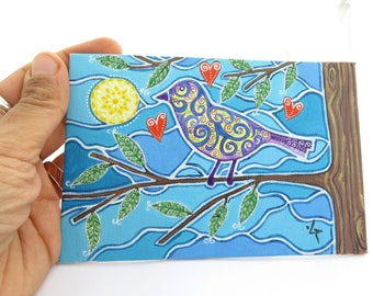 Original Small Bird Painting, Meditative Acrylic Painting , Art by Artist, Colorful Bird on Tree, Good Mood Christmas Gift