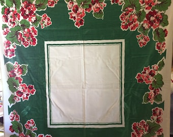 Vintage Mid Century 50s Green Pink Floral  Cotton Tablecloth Table Linen 50 x 48 Inches
