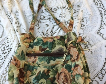Vintage 70s Fall Floral Ladies Barrel Purse Handbag Tote