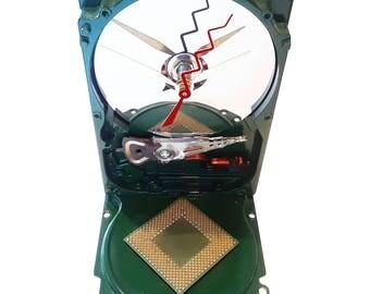 SALE 10% Off. Computer Hard Drive Clock Gloss Green. Got Table Clock, Geek Gift Clock, Secret Santa Gift, Holiday Gift Clock, Office Clock?