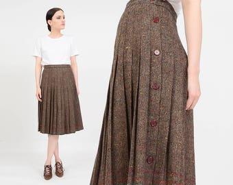 Vintage 80s Brown Pleated Skirt   Speckled Wool Skirt   Pleated Midi Skirt   High Waist Button Down Preppy Retro Midi Skirt  