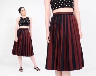 Vintage Striped Skirt | 60s Pleated Skirt | Cotton Knee Length Skirt | High Waisted 50s Retro Rockabilly Skirt | Brown Black | Medium M 28