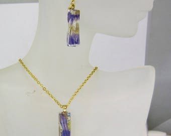 Real Lavender Earring and Pendant Set, Real Flower  Pressed Flower Jewelry, Resin (2082)