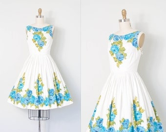 vintage 1950s dress | 50s rose print dress | blue and white (extra small xs)