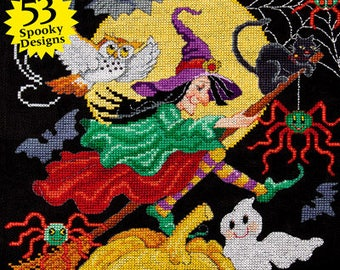 JUST CROSS STITCH Magazine: Annual Halloween Special Collector's Issue 2017 - Ornaments - Haunted House - Ghosts - Witch - Pumpkin - Boo!