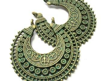Patina Green Brass Bali Crescent Pendant (38mm)