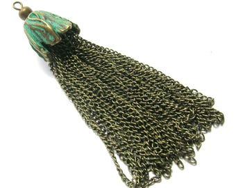 Patinated Brass//Bronze Chain Flower Tassel Pendant (10 cm)