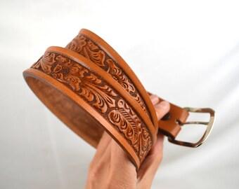 Vintage Tooled Leather Belt - Size 38