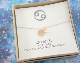 rose gold zodiac Cancer necklace, birthday gift, custom personalized, gift for women girl, minimalist, simple necklace, layered