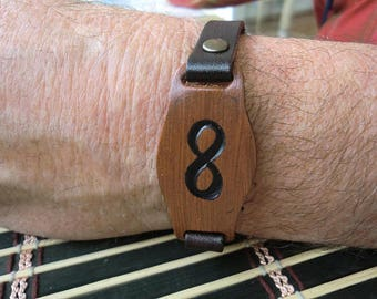 Leather infinity bracelet, Mens Bracelet, Jewelry For Men and Women, Brown leather bracelet