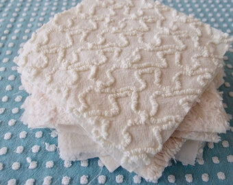 "Vintage Chenille Fabric Quilt Squares - 20 - 6 "" squares, Creamy White, all different - 500-360"