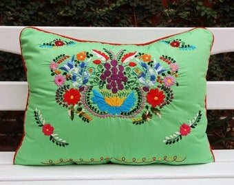 Lime and multi colored Sham created from huipil kaftans