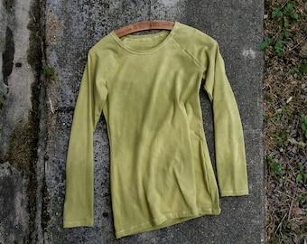 Bamboo sweatshirt wasabi organic tshirt long sleeves hand dyed natural earthy clothing minimalist boho ethical sustainable tee raglan eco