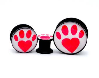 Black Acrylic Paw Print Heart Picture Plugs gauges - 8g, 6g, 4g, 2g, 0g, 00g, 7/16, 1/2, 9/16, 5/8, 3/4, 7/8, 1 inch
