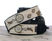Dream Catcher Camera Strap, dSLR, Hand Painted, Wolf Prints, One of a Kind, Artisan Series, SLR, Dreamcatcher, Tribal, 262