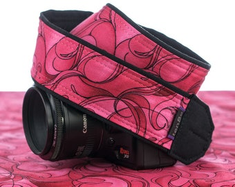 dSLR Camera Strap, SLR, Canon, Nikon, Mirrorless, Neck Strap, Hot Pink and Red Swirls, 062
