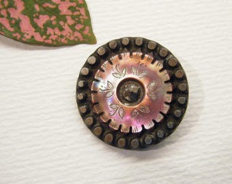 Antique Button, Engraved Carved, Purple Abalone Shell Set In Metal, ANIMAL CHARITY DONATION