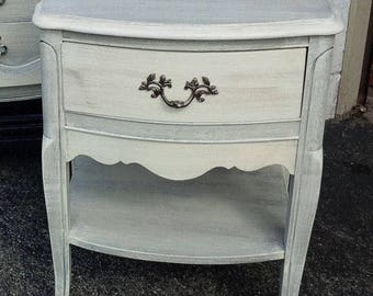 Nightstand Bedside Table Vintage French Provincial Style Poppy Cottage Custom PAINT to ORDER Painted Furniture