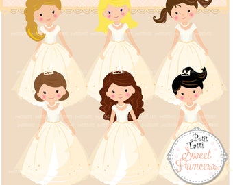 ON SALE White Dress Princess Clip Art // Princess Clipart. Fairytale Princess Clipart,Princess Ballerina, Costumes Princess Clipart,Birthday