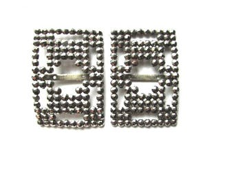 Cut Steel Shoe Clips Buckles French Jewelry Supply Frame Assemblage France