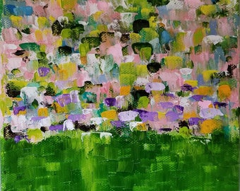 abstract oil painting landscape flowers grass nature colorful original paintings canvas art 6x6 - Garden Glory