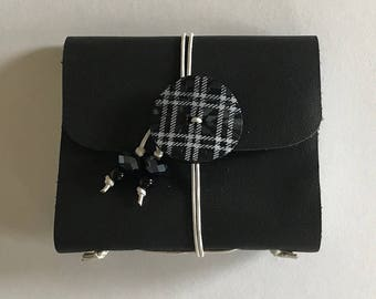 Black plaid - Small Leather Journal