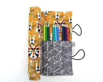 Pencil Roll - Lions and Tigers -  animal pencil case, adult coloring, Bible journal accessory, animal colored pencil roll