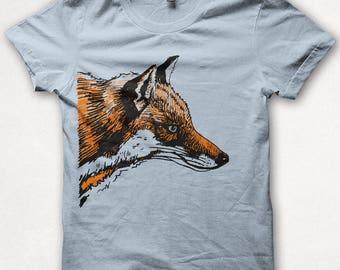 Mens Tshirt, Graphic Tee, Red Fox, Fox Shirt, Forest and Fin, Screenprint T - Light Blue
