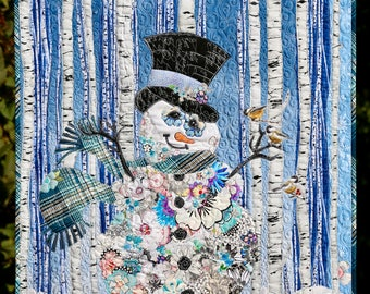 MarveLes Sir FROSTY Floral Collage Quilt KIT Snowman Blue Christmas Woodland Style Snowy Woods Aspen Tree White Plaid