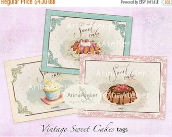 SALE - 30%OFF - Vintage Sweet Cakes Tags - ATC Cards - Set of 8 - Collage Sheet Download - Digital Cupcakes - French Patisserie - Pastry Tag