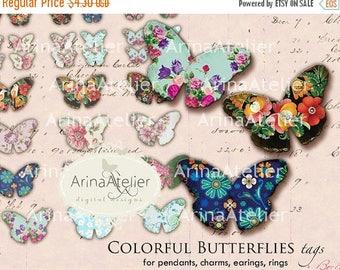 SALE 30% OFF - Colorful Butterflies Digital Tags - for Pendants, Charms, Earings, Jewellery Maker - Digital Download Sheet - Digital Printab
