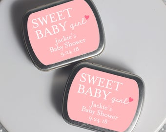 15 Personalized Favor Tins - Custom Mint Tins - Baby Shower Favors - Sweet Baby Girl - Metal Tins - Custom Shower Favors - 2.5 x 2