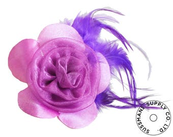 "Millinery Flower - Prim Rose Feathered Flower - Purple (3""-6"")"