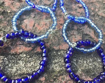 Earrings - Dangle - Beaded Circles in Shades of Blue - Boho - Seed Beads - Long