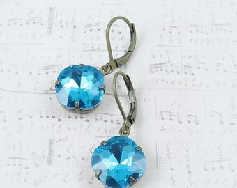 SALE 50% off Blue Rhinestone Earrings Cushion Cut Earrings Rhinestone Dangle Earrings Aqua Earrings